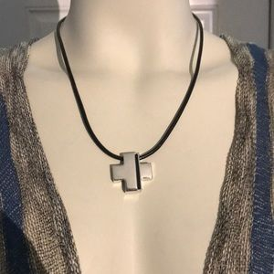 Lia Sophia Kiam Family Silver Tone Cross Necklace